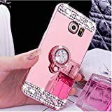 Galaxy Note 4 Case, Note 4 Mirror Case, PHEZEN Luxury Crystal Rhinestone Soft TPU Rubber Bumper [Bling Diamond Glitter Ring Stand Holder] Makeup Mirror Back Case for Samsung Galaxy Note 4, Rose Gold