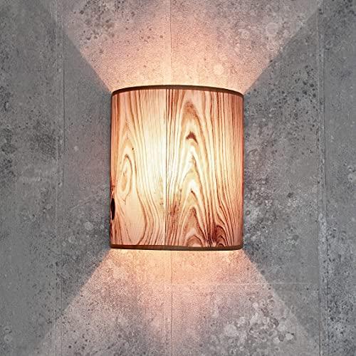 Lámpara de pared decorativa de tela en imitación de madera semicircular E27 Loft lámpara de pared dormitorio salón pasillo Alice