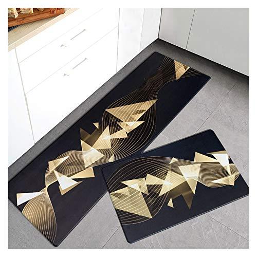 OMING Alfombra de cocina de PVC para el suelo de la cocina, de estilo ligero, de lujo, para el hogar, para el suelo, para el dormitorio, para el suelo (color: W, tamaño: 45 x 95 cm)