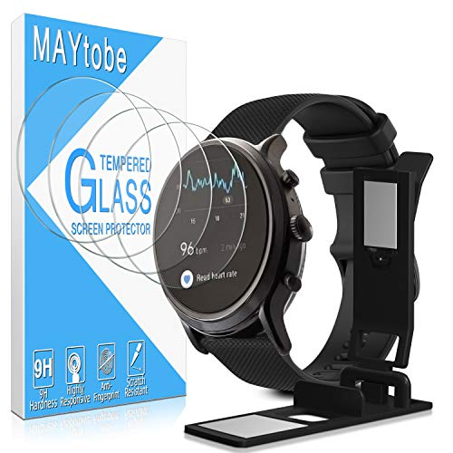 [4 Pack] MAYtobe for Fossil Gen 5 Carlyle HR Smartwatch Temperd Glass Screen Protector,[Easy Installation Tray] 2.5D 9H Hardness, Anti-Scratch, Bubble Free