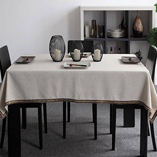 QINGTAOSHOP Tissu de Table de Lin Simple Couleur Unie Dentelle de Broderie de Style Ethnique Nappe de Nappe Table Basse Style Minimaliste Moderne (Size : 140 * 200cm)