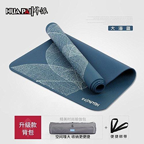YOOMAT Fitness Fitness Mat Débutant Anti-Slip Yoga, Les Tapis épais élargissez des Tapis Yoga Mat rembourré Were, 8Mm (Starter), Ocean bleu (Feuilles Mises à Niveau Texture (Sac à Dos) 121033