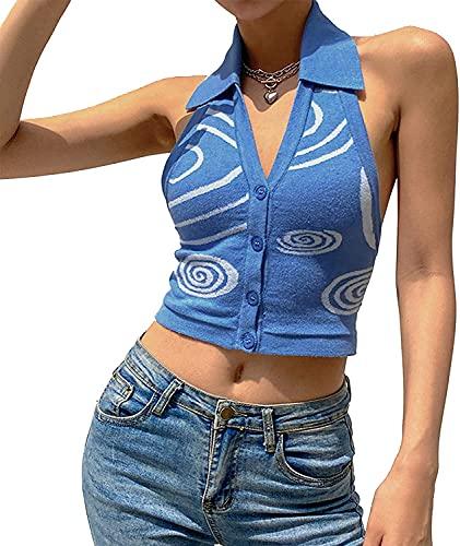 Rendon Tops para mujer con cuello en V profundo halter Crop Cami Top Tie Back Y2K sin mangas Bustier Chalecos moda Streetwear