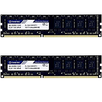 Timetec 16GB KIT 2x8GB  DDR3 1333MHz PC3-10600 Non-ECC Unbuffered 1.5V CL9 2Rx8 Dual Rank 240 Pin UDIMM PC Desktop Computer Memory RAM Module Upgrade  16GB KIT 2x8GB