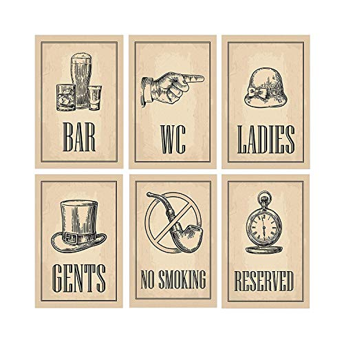 Bar Decoraties | Perfect Set van Zes 11x17