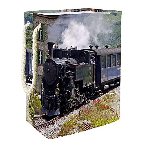 EZIOLY Cesta para la colada de vapor ferrocarril viejo tren plegable con asas soportes desmontables, resistente al agua para la ropa, juguetes para la organización en la sala de lavandería, dormitorio