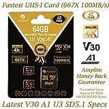 Amplim 2-Pack 64GB Micro SD Card Plus Adapter Pack 2X MicroSD SDXC Card 100MB/s V30 A1 U3 C10 UHS-I 4K Video MicroSDXC Memory Card Nintendo GoPro Camera Galaxy LG Moto Canon Nikon DJI Fire Dashcam