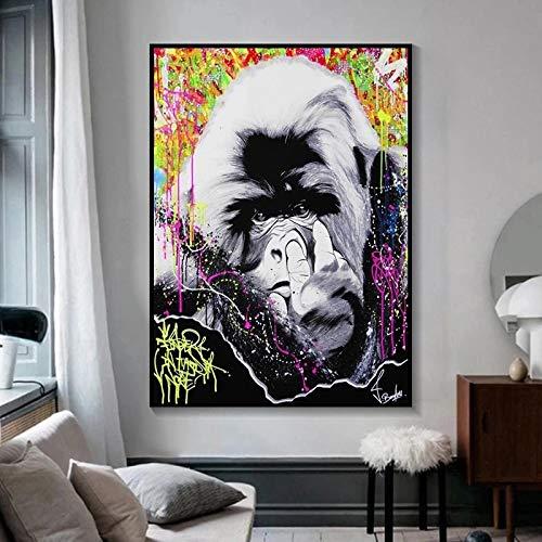JHGJHK Mural Graffiti Dibujos Animados Mono Gorila niño habitación Familiar decoración Pintura al óleo 2
