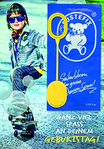 Kindergeburtstagskarte mit Pustefix - Junge auf Skateboard