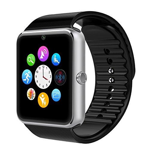 Reloj Inteligente con Cámara Smartwatch Phone -Yarrrashop,Análisis de Sueño,Podómetro,Anti-pérdida,Fitness Tracker Mensaje Alertas para Samsung Sony, Huawei teléfonos Inteligentes Android y (Plata)
