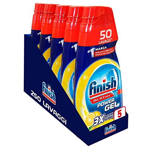 Finish Powergel, Gel Detersivo per Lavastoviglie Liquido, Multiazione, Limone Sgrassante, 250 Lavaggi, 5 Confezioni da 50 Lavaggi