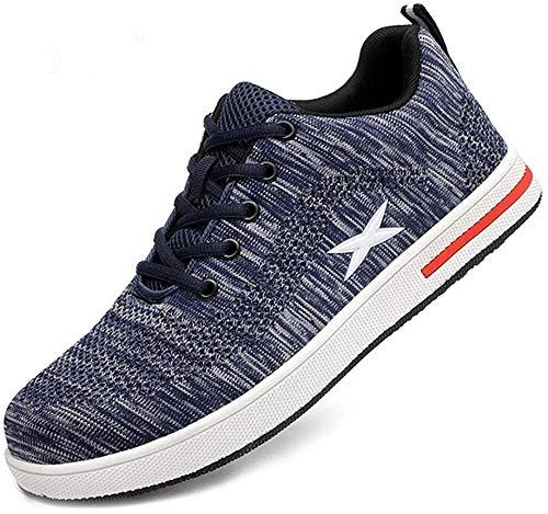 [マンディー] 安全靴 作業靴 メンズ レディース スニーカー あんぜん靴 防滑 通気 耐磨耗 衝撃吸収 四季通用 610 ブルー 27.5cm