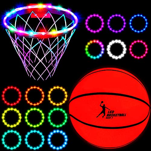 2 Pieces Light Up Basketball Glow in the Dark Basketball LED Basketball Hoop Lights Remote Control Basketball Rim Lights Waterproof Rim Lights 17 Colors 7 Lighting Modes for Boys Present Age 12