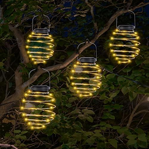 4 Pack Solar Spiral Lights, Waterproof Art Pendant Garden Light, Creative Hanging Lanterns, Outdoor Patio Light, LED Hanging Decorative Lamp for Porch, Path, Yard, Tree, String Lights Decoration