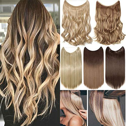 Miracle Translucide Invisible Fil de Poisson Fil sur Extensions de Cheveux Extensions de Cheveux Raides Ondulés Bouclés Synthétiques Blond Marron Noir Ombre Mix