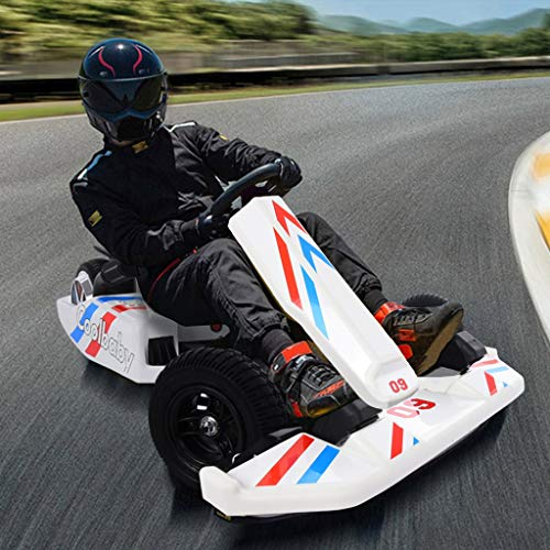 Electric Go Kart for Kids, Electric Racing Scooter with 3 Modes Adjustable Ride-On Go Karting Car for Boys Girls, 36V Electric Kart Drifting Kit with Handbrake & Brake Pedal Outdoor Riding Toy White
