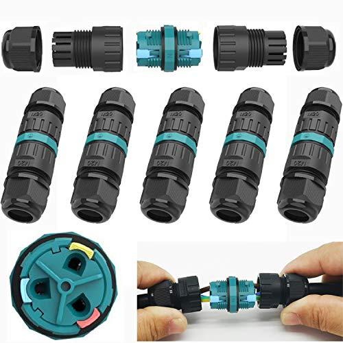Connettore per cavo esterno, CTRICALVER scatola di giunzione impermeabile, per cavo esterno per manicotto IP68 impermeabile, A.W.G: 20-13, per cavi di collegamento a 2 PIN / 3 PIN (5pcs)
