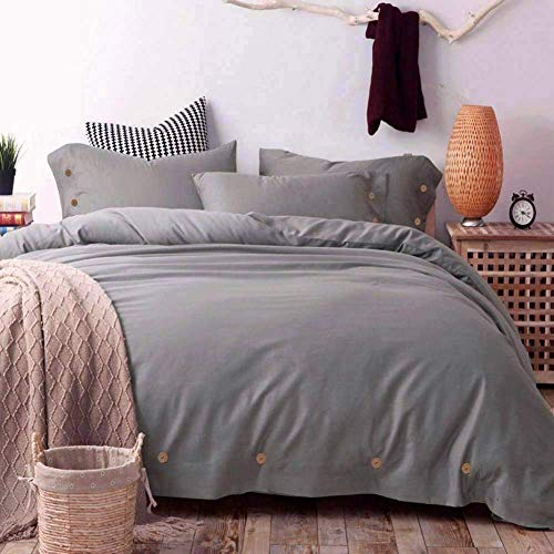 NANKO Grey Twin Duvet Cover Set, 2 Piece - Luxury Microfiber Lightweight Bedding Comforter Quilt Cover - Best for Men Boys Teens Seniors (Twin, Gray)