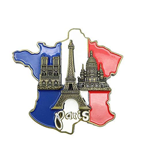 funihut Señales Turísticas De París Francia Imán, Etiqueta del Refrigerador del Mapa De Francia Etiqueta Innovadora del Imán del Refrigerador De La Resina 3D Recuerdo Turístico
