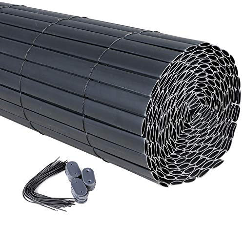 WOLTU Visera de Pantalla de PVC, Protector de Pantalla Protector de Viento para Balcón Valla de Toldo de Jardín, 500 x 100 cm Gris, GZZ1186gr3