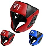RDX Kids Headguard for Boxing, MMA Training and Kickboxing, Approved By SATRA, Junior Maya Hide Leather Head Guard for Face and Ear Protection, Headgear for Sparring, Muay Thai and Taekwondo Helmet
