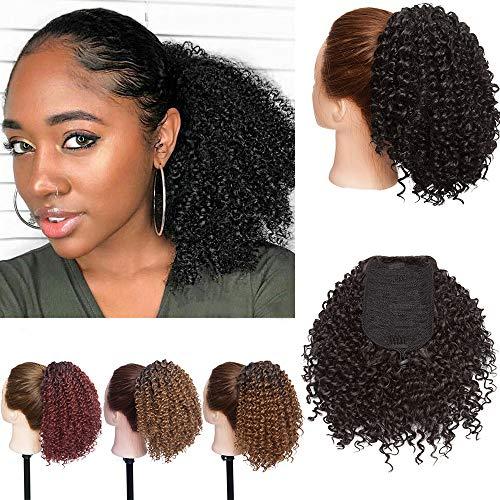 SEGO Moño Postizo [Afro Drawstring Ponytail] Rizado Pelo Sintético Como Pelo Natural [Negro] Coleta Postiza Corta para Mujer Extensiones de Cabello Clip (130g)