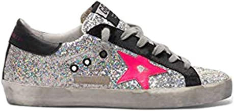 Golden Goose Deluxe Brand Superstar Women Sneakers with Glitter Upper and Fucsia Star G35WS590.R78