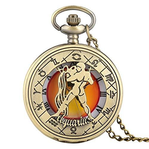 HANXIAO Taschenuhren Retro Tierkreis-Muster-Taschenuhr-Moderne Halsketten-Ketten-Kupfer zwölf Konstellations-hängende Geburtstags-Uhr-Geschenke für Männer Frauen-Wassermann