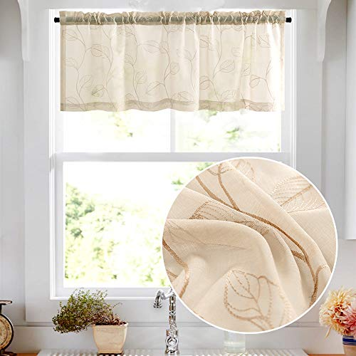Topick Sheer Window Valance for Bedroom Living Room with Leaf Embroidery Design Rod Pocket Valance Curtain 1 Panel 16 inches Beige