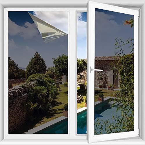 Pellicola Specchio Oscurante per Finestre,TTMOW Pellicola Riflettente Finestre 99% Anti-UV, Pellicola Privacy Unidirezionale Controllo del Calore Adatto per Casa e Ufficio(90 * 200 cm,Grigio Argento)
