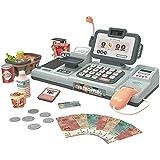 BeebeeRun 25 Piezas Caja Registradora Juguetes Supermercado,Caja Registradora Juguetes Supermercado Compras Electrónica Educativos para Niños Niñas (Gris)