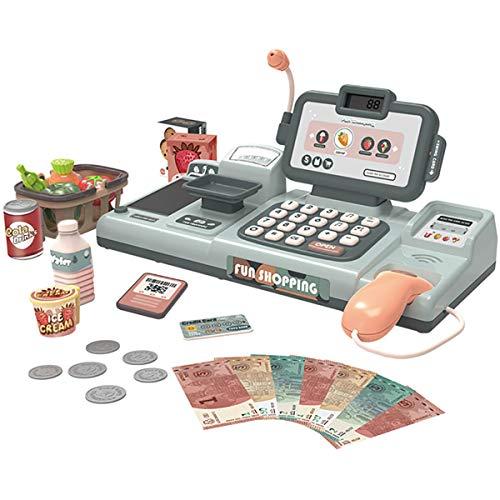BeebeeRun Elektronische Supermarktkasse für Kinder,Registrierkasse mit Scanner Mikrofon Kaufladen Zubehör Rollenspiel Spielzeug für Mädchen Jungen (grau)