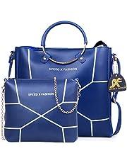 Speed X Fashion Women's Handbag With Shoulder Bag (Set of 2) (LWH00STY_Blue)