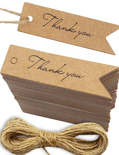 HOMETOOLS.EU® - 100 Kraft-Papier, Natur-Karton, Geschenk-Anhänger, Papier-Anhänger, Papier-Schilder, Label, Papp-Schildchen, Geschenk, 7 x 2 cm, mit 10m Jute-Schnur, Thank You, Dankeschön, natur braun