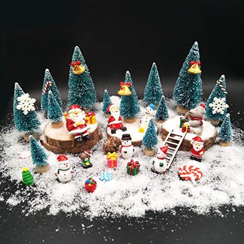 EMiEN 45PCS Winter Christmas Miniature Ornament Kits for DIY Christmas Scene Fairy Garden Dollhouse Home Décor, Mini Christmas Trees, Snowman for Christmas Party Decoration Micro Landscape Accessories