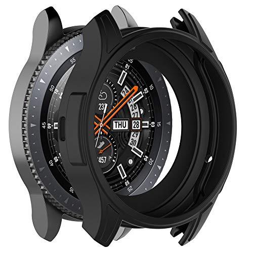 Schutzhülle für Samsung Galaxy Watch 46MM und Samsung Gear S3 Frontier (Nicht für Classic), Hülle aus weichem Silikon stoßfeste und bruchfeste Schutzhülle für Smartwatch (Schwarz)