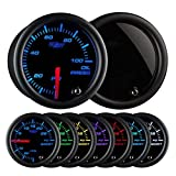 GlowShift Tinted 7 Color 100 PSI Oil Pressure Gauge Kit - Includes Electronic Sensor - Black Dial - Smoked Lens - For Car & Truck - 2-1/16' 52mm