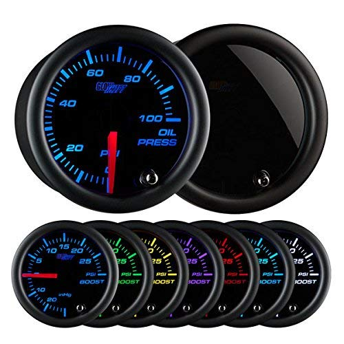 GlowShift Tinted 7 Color 100 PSI Oil Pressure Gauge Kit - Includes Electronic Sensor - Black Dial - Smoked Lens - For Car & Truck - 2-1 16  52mm