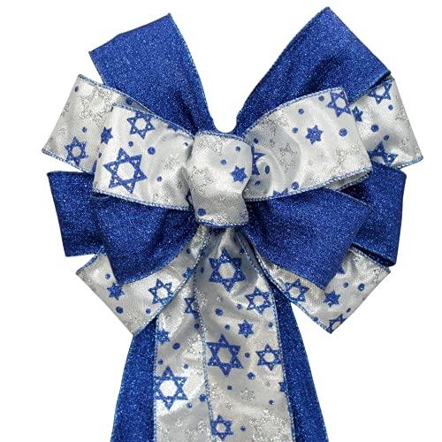 Star of David Silver Blue Hanukkah Wreath Bow