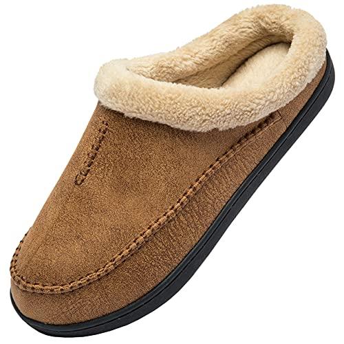 Zapatillas de Casa Cuero Hombre Invierno Cálido Peluche Zapatos Antideslizante, Marrón,49/50 EU