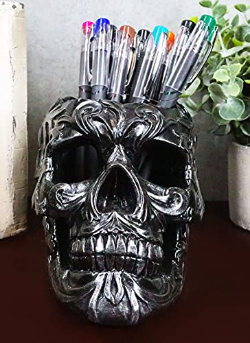 Ebros Gift Tribal Tattoo Floral Skull Pen Holder Figurine 5.75'L Office Desktop Ossuary Skulls Decor Cranium Skeleton Head Stationery Holder As Halloween Macabre Graveyard Spooky Decorative Statue