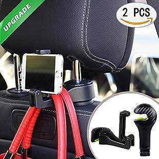 Car Headrest Hook Car Seat Hooks 2 Pack Headrest Hanger Holder For Purse Bag Grocery (black):Amedama