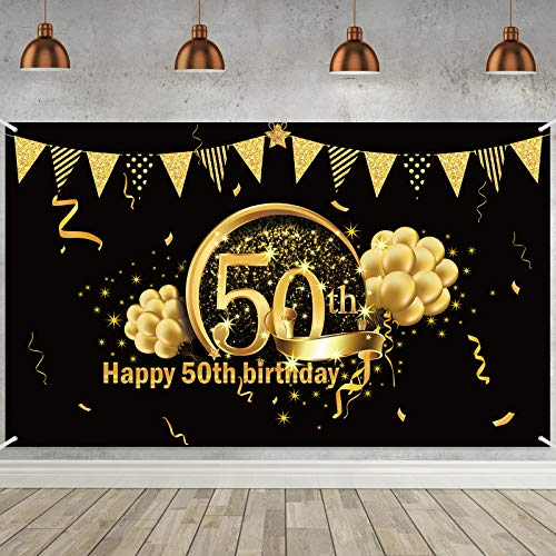 Decoración de Fiesta de 50 Cumpleaños, Póster de Señal de Tela Extra Grande para 50 Aniversario Fondo de Foto Pancarta de Fondo, Materiales de Fiesta de 50 Cumpleaños (Negro Dorado)