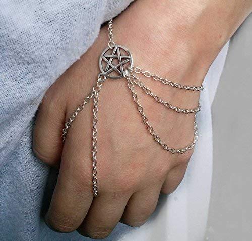 Pulsera de plata Wiccan esclava, pulsera esclava de Wicca, pulsera Pentagram, pulsera Pentacle, joyería Wiccan