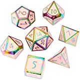 DND Metal Game Dice Set Cream Pink with Rainbow Edge 7pcs Set for Dungeons and Dragons RPG MTG Table Games D4 D6 D8 D10 D12 D20