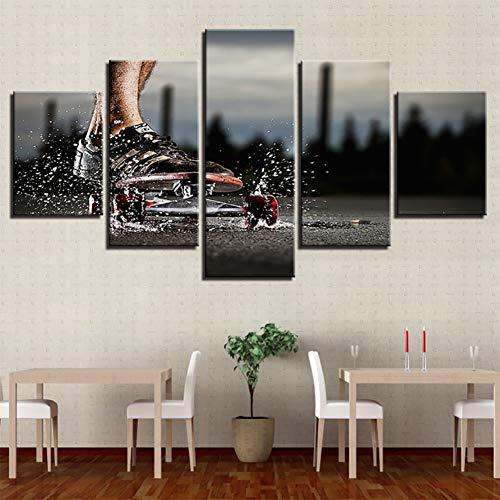 Grote Canvas Prints Wall Art Skateboard extreme sport element Foto's Schilderijen voor Slaapkamer Woonkamer Home Decoraties 5 Stuk Modern Uitgerekt en Omlijst Grace Giclee Artwork