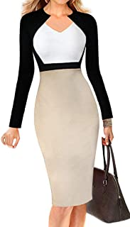 Women's Chic V-Neck Casual Every Day Wear to Work Midi Dress