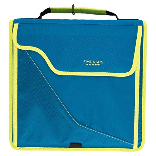 Five Star Sewn Zipper Binder, 3 Inch 3 Ring Binder, Expandable Plus Removable Padded Device Case, Teal/Chartreuse (29296IH8)