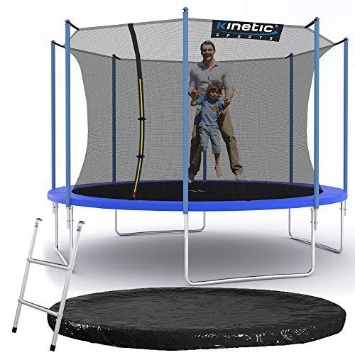 Kinetic Sports Outdoor Gartentrampolin Ø 360 cm, TPLS12, inklusive Sprungtuch aus USA PP-Mesh +Sicherheitsnetz +Rand- u. Regen-Abdeckung +Leiter, bis 160kg, GS-geprüft,UV-beständig, BLAU