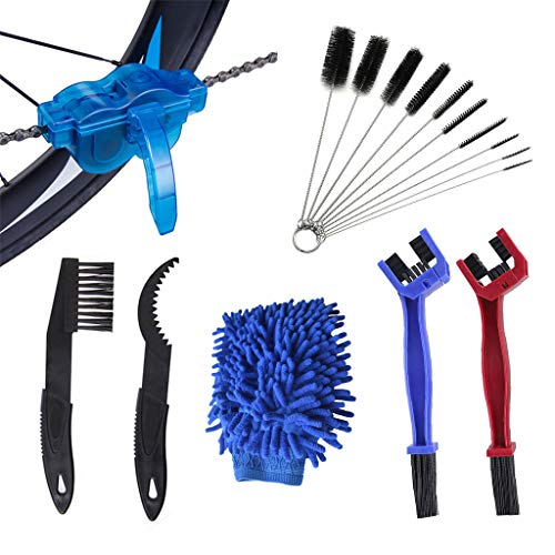 YFLY 16pcs Bike Chain Cleaning Brush Kit Bicycle Maintenance Washing Tool Suitable for Mountain, Road, City, Hybrid Bike